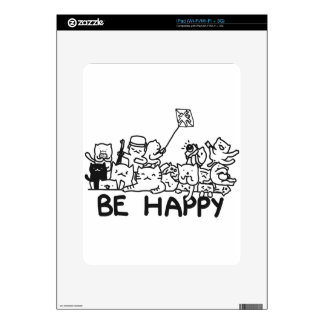 Be Happy Cats Doodle iPad Skin