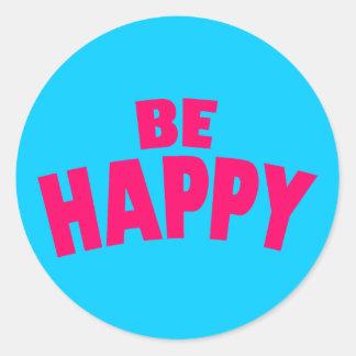 Be Happy Classic Round Sticker
