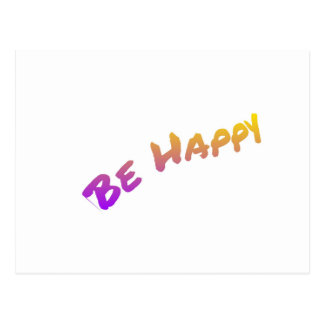 Be Happy colorful word art Postcard