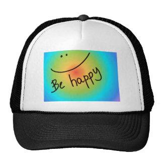 """Be happy"" colourful smiley face, handwritten Trucker Hat"