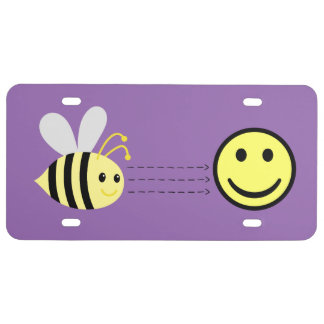 Be Happy Emoticons License Plate