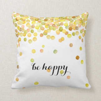 Be Happy Gold Yellow Watercolor Dots Throw Pillow