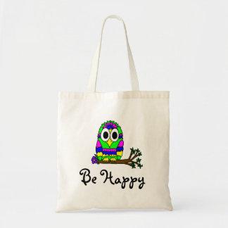 Be Happy Hippy Owl Tote Bag