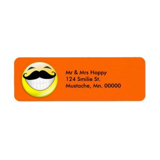 Be Happy Mustache Version Label