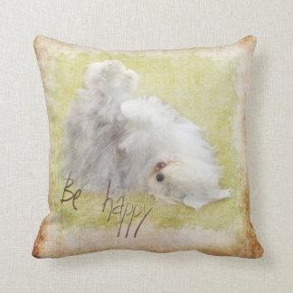 Be happy Old English Sheepdog - Bobtail Throw Pillow