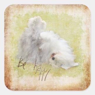 Be happy Old Sheepdog - Bobtail Square Sticker