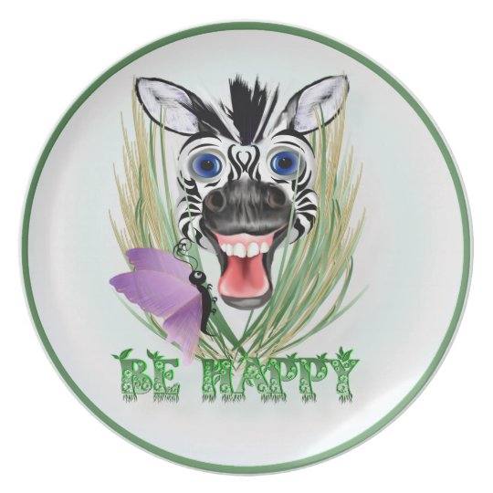Be Happy Pillows Melamine Plate