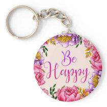 Be Happy Pink Peony Key Chain