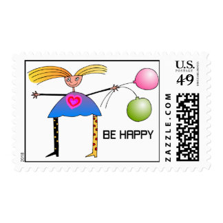 BE HAPPY  POSTAGE STAMP
