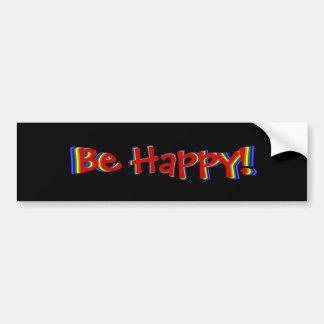 Be Happy Rainbow Bumper Sticker