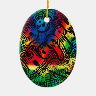 Be happy rainbow Oval ornament