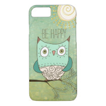 Be Happy Retro Bohemian Owl iPhone 7 Case