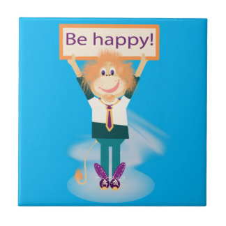 Be happy! small square tile