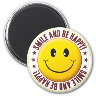 Be Happy Smiley 2 Inch Round Magnet