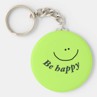 "'Be happy"" smiley face Keychain"
