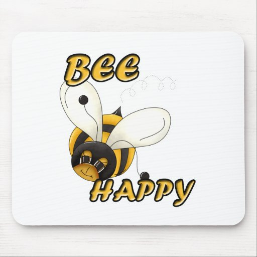 Be Happy Smiling Bee Mouse Pad