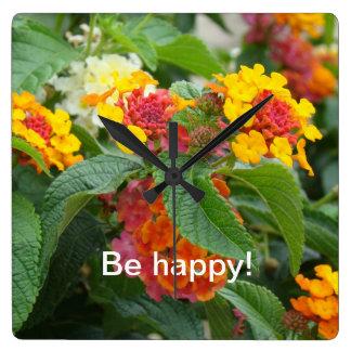 Be happy! square wallclock