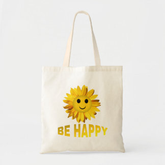 Be Happy Sunflower Smiley Face Totes / Fabric Bags