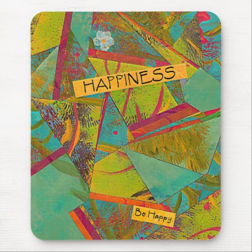 Be Happy Triangles collage mouse pad