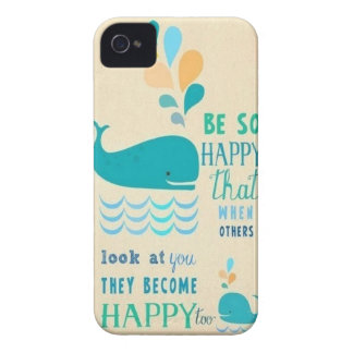 Be Happy whale iPhone 4 case