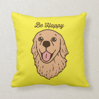 Be happy with the cute Golden Retriever Throw Pillow