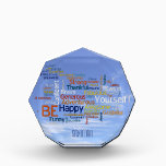 """Be Happy Word Cloud in Blue Sky Inspire Acrylic Award<br><div class=""""desc"""">Features a customizable, motivational and inspirational Word Cloud to inspire anyone, especially students, to &#39;BE&#39; &#39;Happy&#39;, and many other motivating words for being &#39;Yourself&#39;! The text is in the form of a &#39; Word Cloud&#39; and is floating in the blue sky with wispy, sweeping cirrus clouds. The background can be...</div>"""
