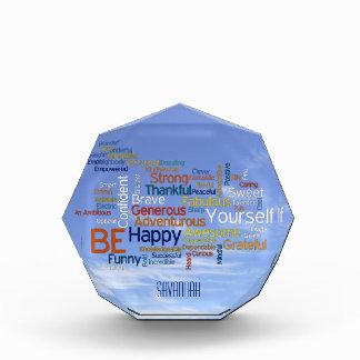 Be Happy Word Cloud in Blue Sky Inspire Acrylic Award
