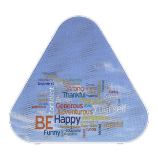 Be Happy Word Cloud in Blue Sky Inspire Bluetooth Speaker