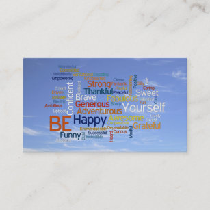Word cloud business cards zazzle be happy word cloud in blue sky inspire business card reheart Choice Image