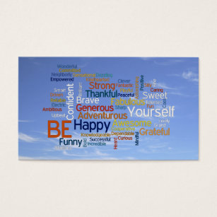 Word cloud business cards templates zazzle be happy word cloud in blue sky inspire business card reheart Images