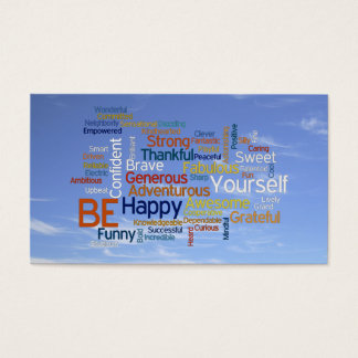 Be Happy Word Cloud in Blue Sky Inspire Business Card
