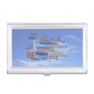 Be Happy Word Cloud in Blue Sky Inspire Case For Business Cards