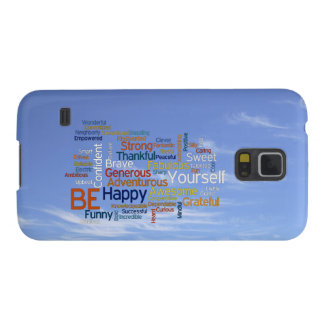 Be Happy Word Cloud in Blue Sky Inspire Case For Galaxy S5