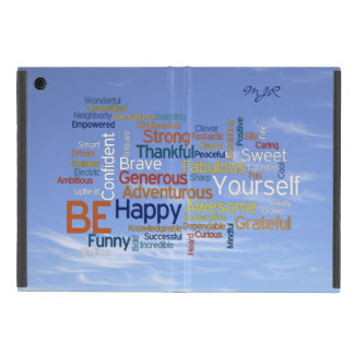 Be Happy Word Cloud in Blue Sky Inspire Cover For iPad Mini