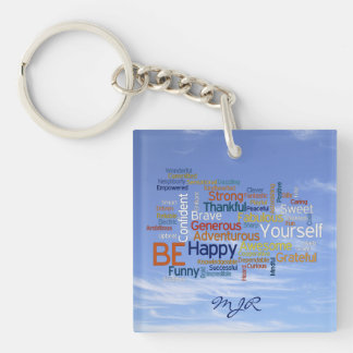 Be Happy Word Cloud in Blue Sky Inspire Double-Sided Square Acrylic Keychain