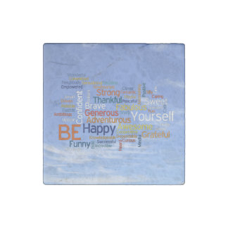 Be Happy Word Cloud in Blue Sky Inspire Stone Magnet