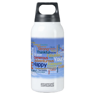 Be Happy Word Cloud in Blue Sky Inspire Insulated Water Bottle