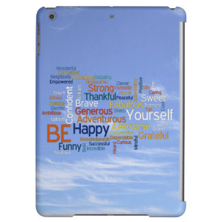 Be Happy Word Cloud in Blue Sky Inspire iPad Air Cover