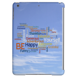 Be Happy Word Cloud in Blue Sky Inspire Cover For iPad Air