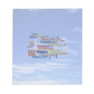 Be Happy Word Cloud in Blue Sky Inspire Notepad
