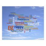 Be Happy Word Cloud in Blue Sky Inspire Photo