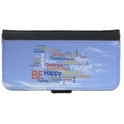 Be Happy Word Cloud in Blue Sky Inspire iPhone 6 Wallet Case