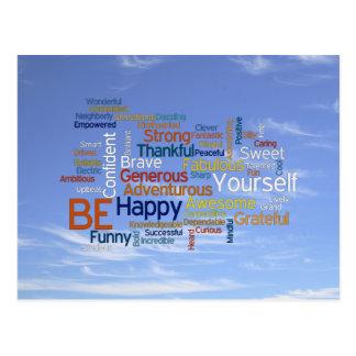 Be Happy Word Cloud in Blue Sky Inspire Postcard