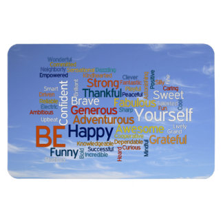 Be Happy Word Cloud in Blue Sky Inspire Rectangular Photo Magnet
