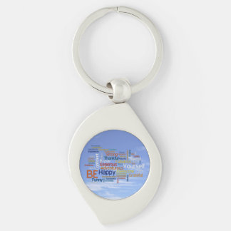 Be Happy Word Cloud in Blue Sky Inspire Silver-Colored Swirl Metal Keychain