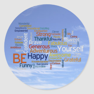 Be Happy Word Cloud in Blue Sky Inspire Round Stickers