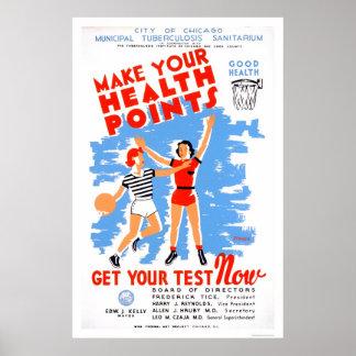 Be Healthy Tuberculosis 1939 WPA Poster