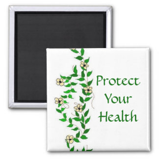 Be Healthy Vines And Flowers 2 Inch Square Magnet