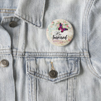 Be Inspired Quote & Pink Butterfly Vintage Collage Button