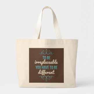 Be Irreplaceable Be Different Blue Brown Canvas Bag